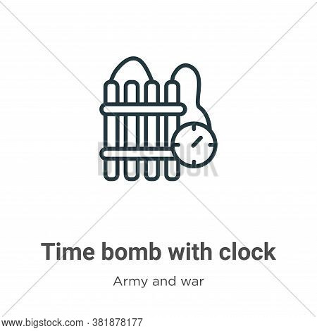 Time bomb with clock icon isolated on white background from army and war collection. Time bomb with
