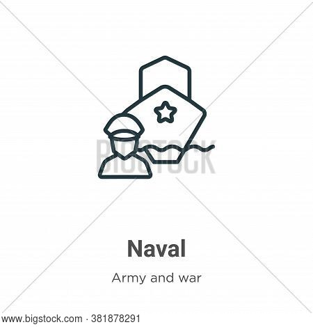 Naval icon isolated on white background from army and war collection. Naval icon trendy and modern N