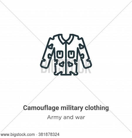 Camouflage military clothing icon isolated on white background from army and war collection. Camoufl