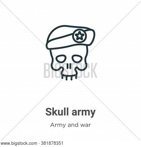 Skull army icon isolated on white background from army and war collection. Skull army icon trendy an