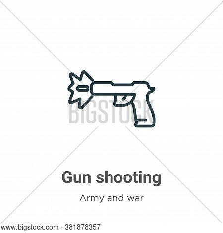 Gun shooting icon isolated on white background from army and war collection. Gun shooting icon trend