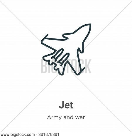 Jet icon isolated on white background from army collection. Jet icon trendy and modern Jet symbol fo