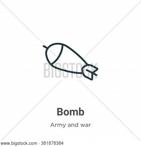 Bomb icon isolated on white background from army collection. Bomb icon trendy and modern Bomb symbol