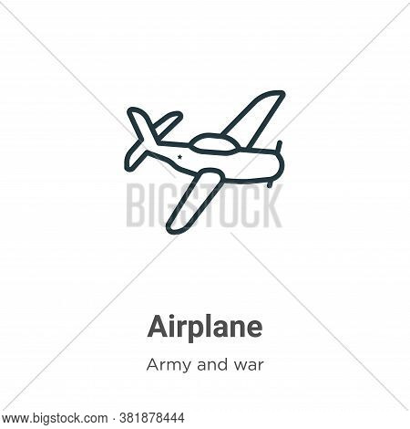 Airplane icon isolated on white background from army collection. Airplane icon trendy and modern Air