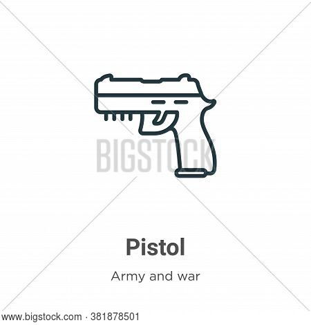 Pistol icon isolated on white background from army collection. Pistol icon trendy and modern Pistol