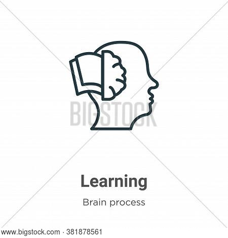 Learning icon isolated on white background from brain process collection. Learning icon trendy and m
