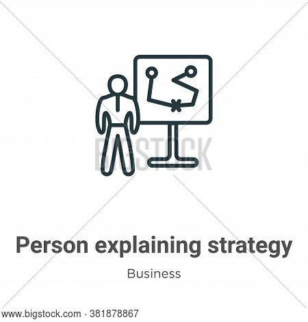 Person explaining strategy on a board with a sketch icon isolated on white background from  collecti