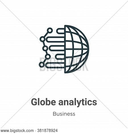 Globe analytics icon isolated on white background from business collection. Globe analytics icon tre