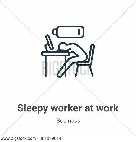 Sleepy worker at work icon isolated on white background from business collection. Sleepy worker at w