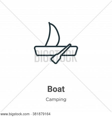 Boat icon isolated on white background from camping collection. Boat icon trendy and modern Boat sym