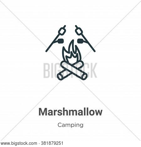 Marshmallow icon isolated on white background from camping collection. Marshmallow icon trendy and m
