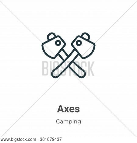 Axes icon isolated on white background from camping collection. Axes icon trendy and modern Axes sym