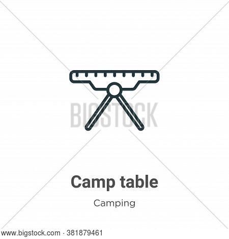 Camp table icon isolated on white background from camping collection. Camp table icon trendy and mod