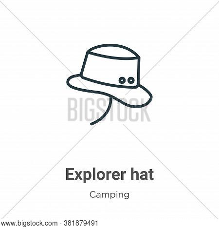 Explorer hat icon isolated on white background from camping collection. Explorer hat icon trendy and