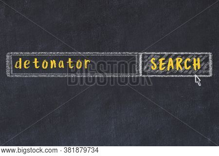 Concept Of Looking For Detonator. Chalk Drawing Of Search Engine And Inscription On Wooden Chalkboar