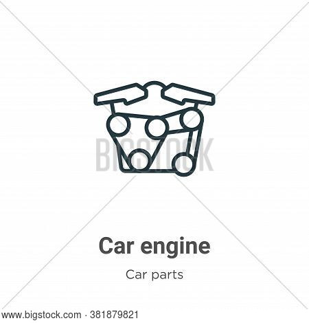 Car engine icon isolated on white background from car parts collection. Car engine icon trendy and m