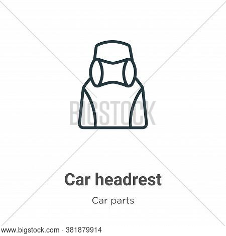 Car headrest icon isolated on white background from car parts collection. Car headrest icon trendy a