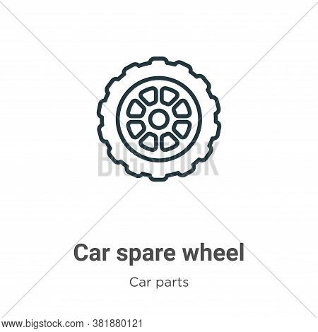 Car spare wheel icon isolated on white background from car parts collection. Car spare wheel icon tr