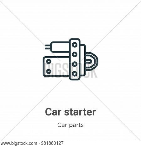 Car starter icon isolated on white background from car parts collection. Car starter icon trendy and