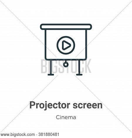 Projector screen icon isolated on white background from cinema collection. Projector screen icon tre