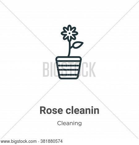 Rose cleanin icon isolated on white background from cleaning collection. Rose cleanin icon trendy an