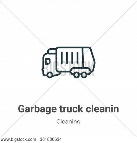 Garbage truck cleanin icon isolated on white background from cleaning collection. Garbage truck clea