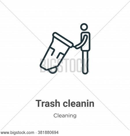 Trash cleanin icon isolated on white background from cleaning collection. Trash cleanin icon trendy
