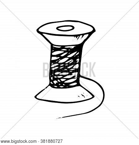 Spool Of Thread Hand Drawn In Doodle Style. Single Element For Design Icon, Sticker, Poster, Card, T