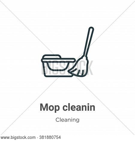 Mop cleanin icon isolated on white background from cleaning collection. Mop cleanin icon trendy and