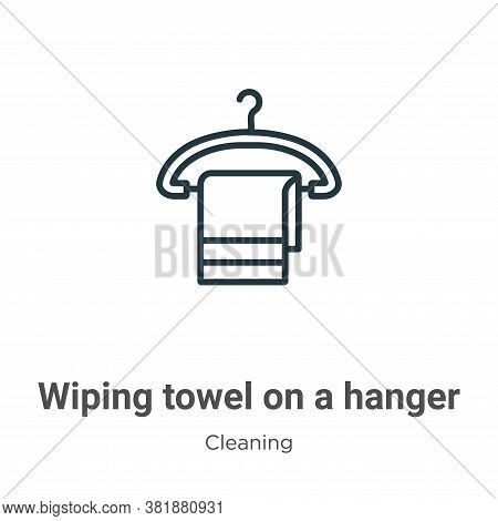 Wiping towel on a hanger icon isolated on white background from cleaning collection. Wiping towel on