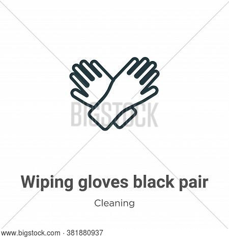 Wiping gloves black pair icon isolated on white background from cleaning collection. Wiping gloves b