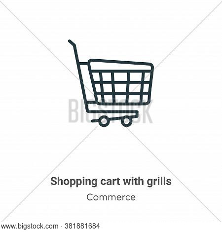Shopping cart with grills icon isolated on white background from commerce collection. Shopping cart