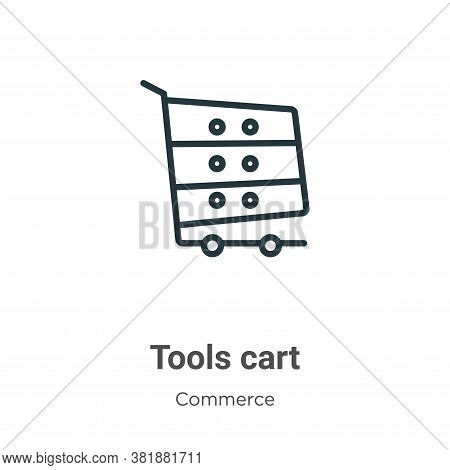 Tools cart icon isolated on white background from commerce collection. Tools cart icon trendy and mo
