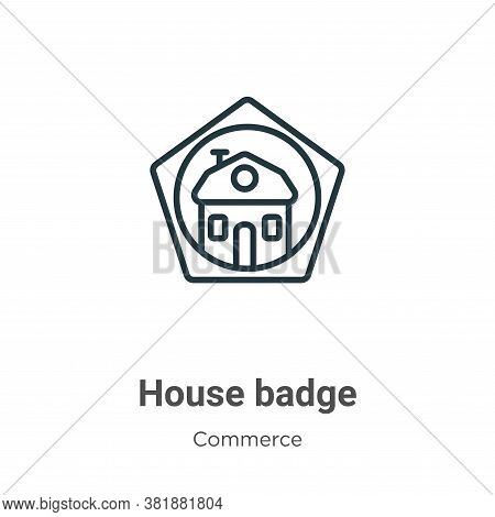 House badge icon isolated on white background from commerce collection. House badge icon trendy and