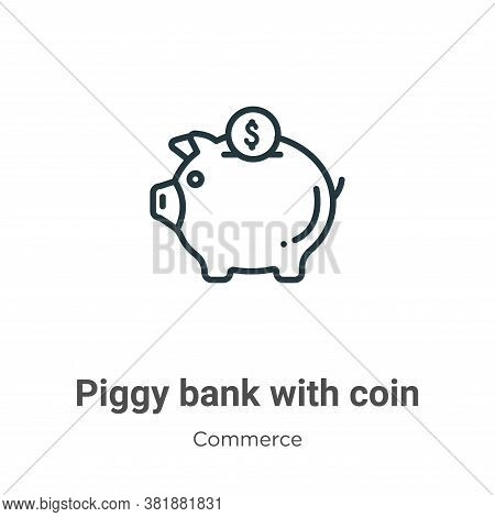 Piggy bank with coin icon isolated on white background from commerce collection. Piggy bank with coi
