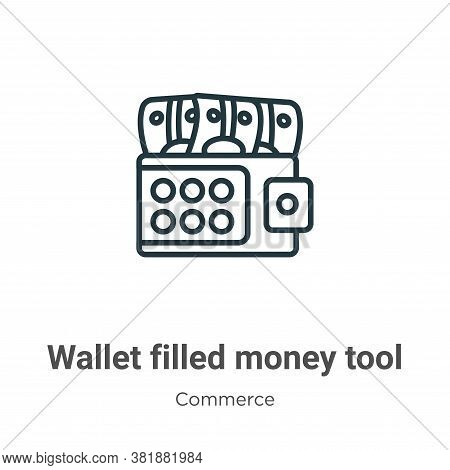 Wallet filled money tool icon isolated on white background from commerce collection. Wallet filled m