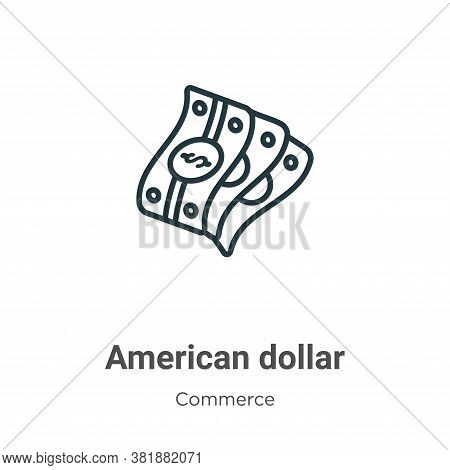American dollar icon isolated on white background from commerce collection. American dollar icon tre