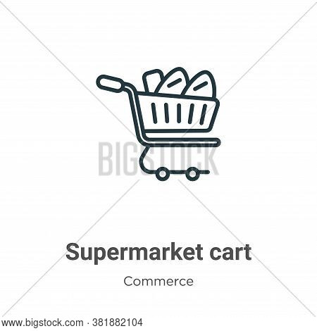 Supermarket cart icon isolated on white background from commerce collection. Supermarket cart icon t
