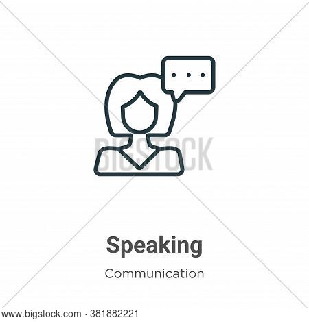 Speaking icon isolated on white background from communication collection. Speaking icon trendy and m