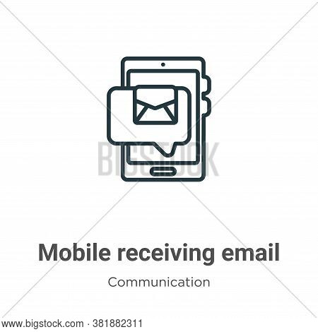 Mobile receiving email icon isolated on white background from communication collection. Mobile recei