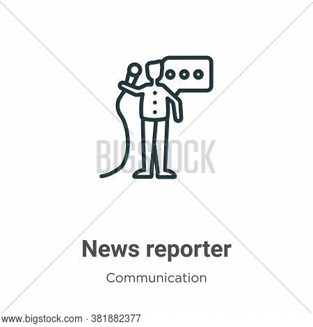 News reporter icon isolated on white background from communication collection. News reporter icon tr