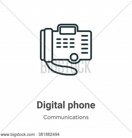 Digital phone icon isolated on white background from communications collection. Digital phone icon t