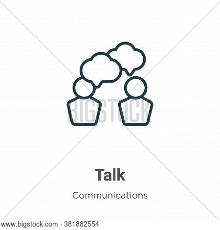 Talk icon isolated on white background from communications collection. Talk icon trendy and modern T