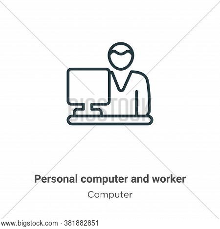 Personal Computer And Worker Icon From Computer Collection Isolated On White Background.