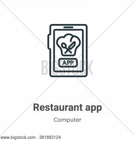 Restaurant app icon isolated on white background from computer collection. Restaurant app icon trend