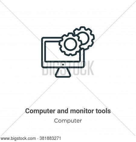 Computer and monitor tools icon isolated on white background from computer collection. Computer and