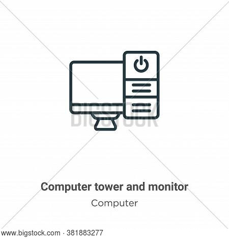 Computer tower and monitor icon isolated on white background from computer collection. Computer towe
