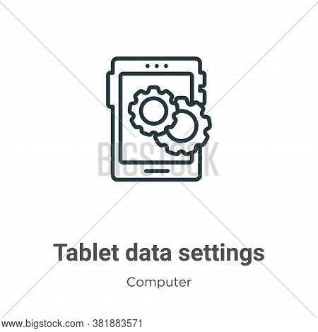 Tablet data settings icon isolated on white background from computer collection. Tablet data setting