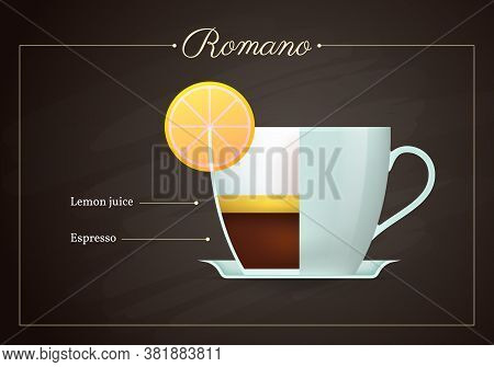 Romano Coffee Drink Recipe. Cup Of Hot Tasty Beverage On Blackboard. Preparation Guide With Layers O