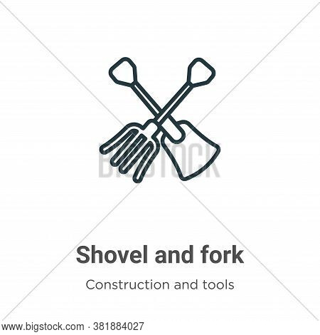 Shovel and fork icon isolated on white background from construction and tools collection. Shovel and